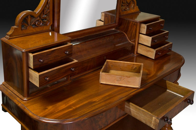 Victorian Dressing Table, Mahogany, Metal, Glass, England, 19th Century In Good Condition For Sale In Madrid, ES