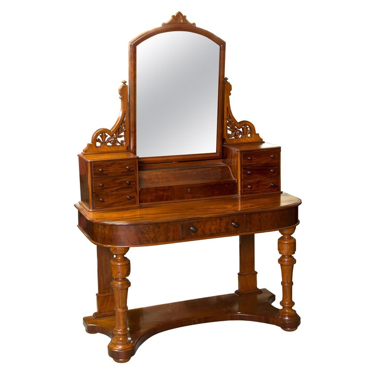 Victorian Dressing Table, Mahogany, Metal, Glass, England, 19th Century For Sale