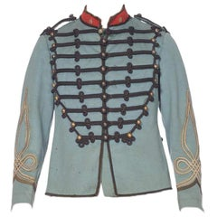 Victorian Dusty Blue Wool Authentic 1870S French Military Jacket With Silver But