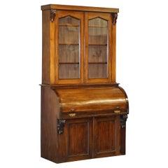 Victorian Eastlake 1870 Cylinder Roll Top Secretaire Desk Bookcase Glazed Doors