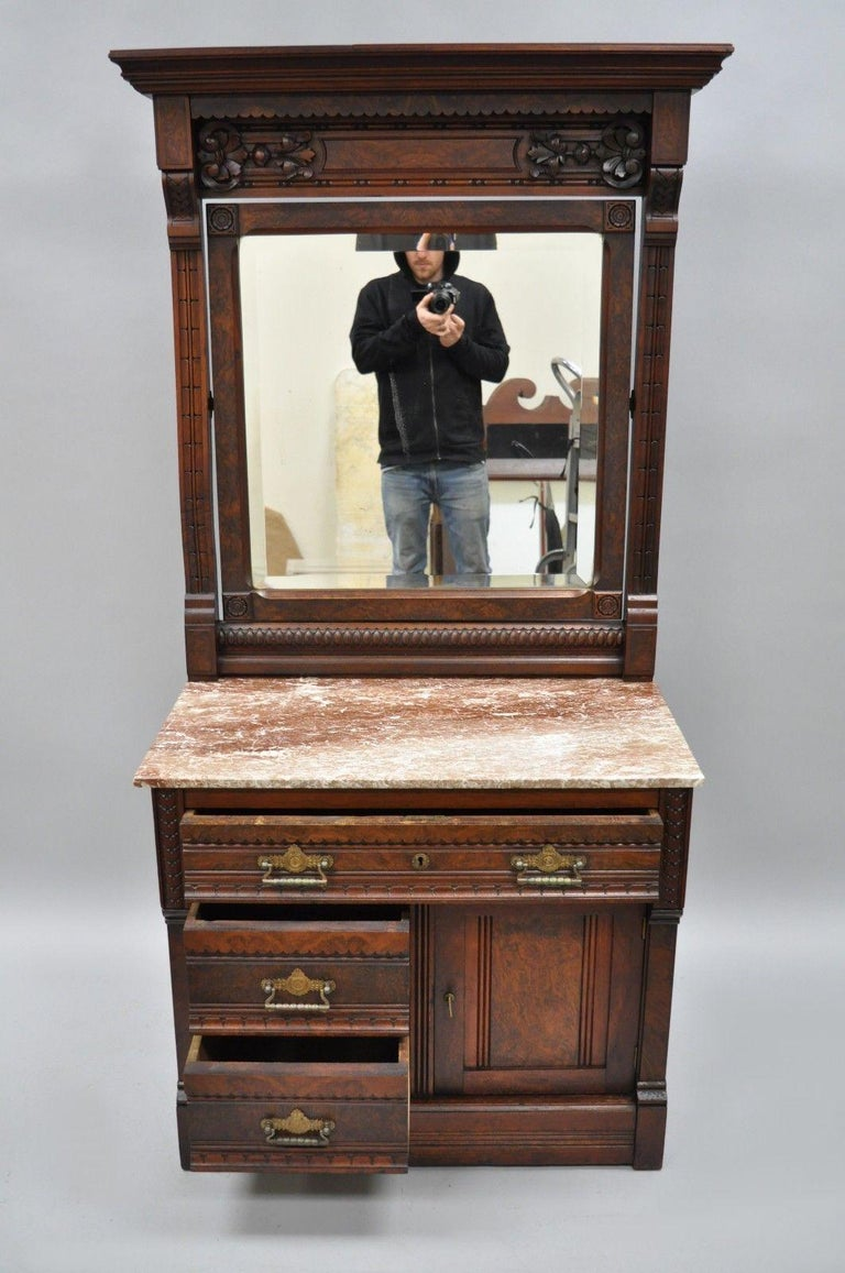 Victorian Eastlake Burl Walnut Marble-Top Wash Stand Dresser Chest with Mirror For Sale 5