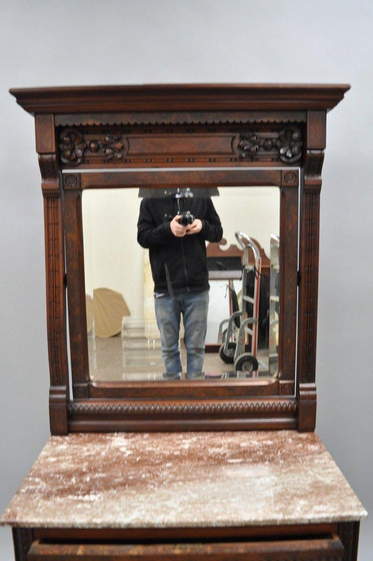 Victorian Eastlake Burl Walnut Marble-Top Wash Stand Dresser Chest with Mirror In Good Condition For Sale In Philadelphia, PA