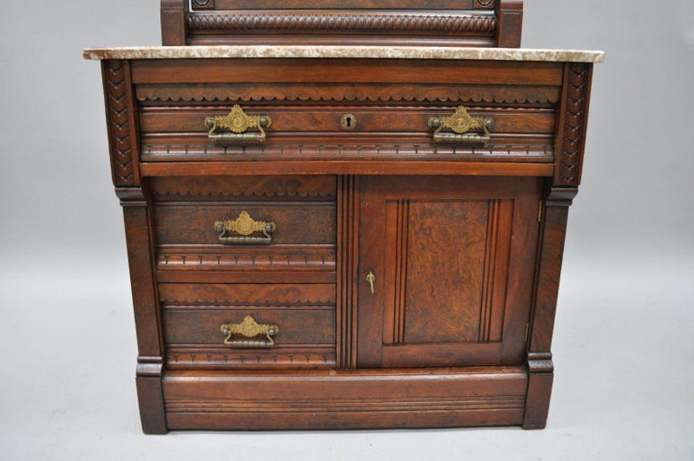 19th Century Victorian Eastlake Burl Walnut Marble-Top Wash Stand Dresser Chest with Mirror For Sale