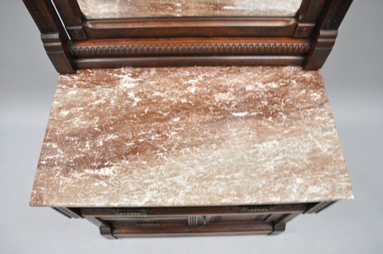 Victorian Eastlake Burl Walnut Marble-Top Wash Stand Dresser Chest with Mirror For Sale 3
