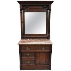 Victorian Eastlake Burl Walnut Marble-Top Wash Stand Dresser Chest with Mirror
