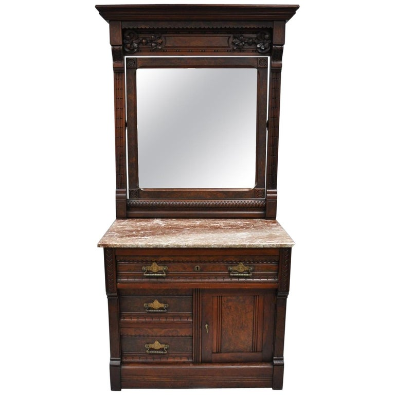 Victorian Eastlake Burl Walnut Marble-Top Wash Stand Dresser Chest with Mirror For Sale