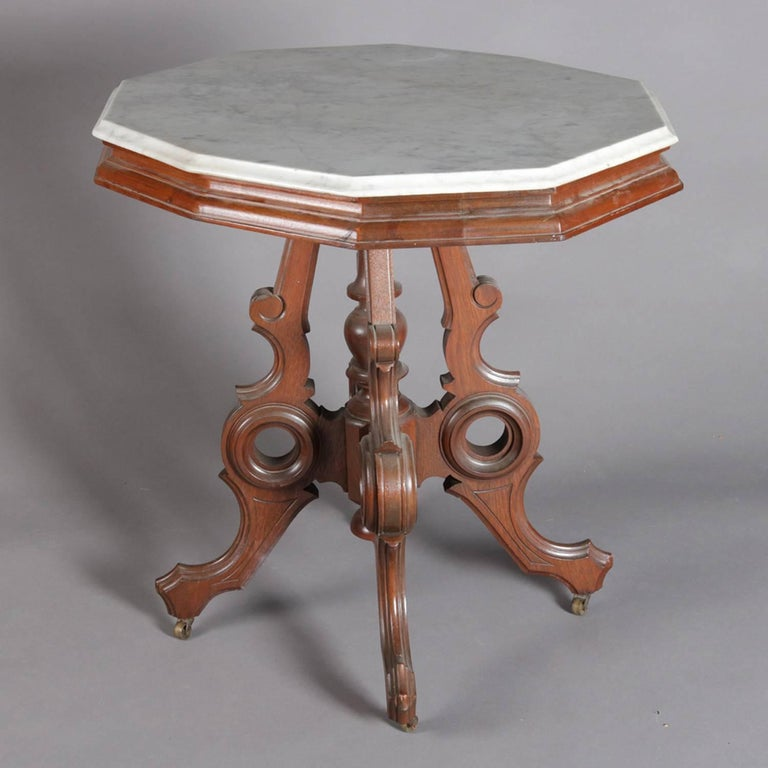American Victorian Eastlake Carved Walnut and Marble Parlor Table, 19th Century