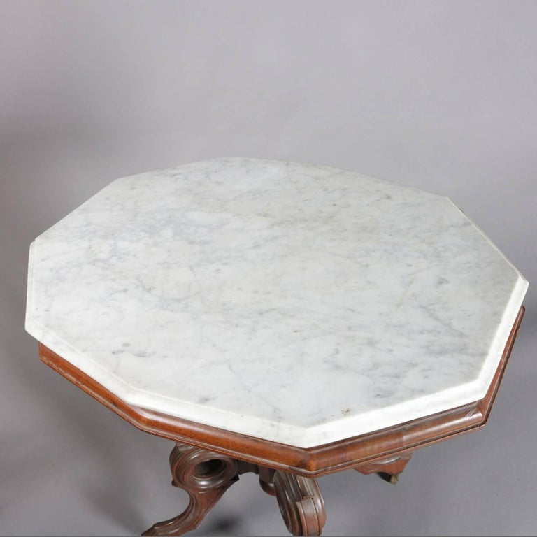 Victorian Eastlake Carved Walnut and Marble Parlor Table, 19th Century In Good Condition In Big Flats, NY