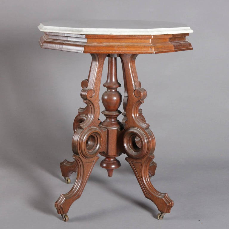 Victorian Eastlake Carved Walnut and Marble Parlor Table, 19th Century 1