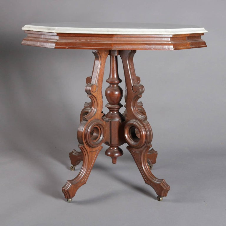 Victorian Eastlake Carved Walnut and Marble Parlor Table, 19th Century 2