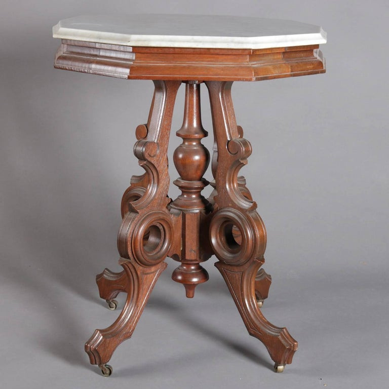 Victorian Eastlake Carved Walnut and Marble Parlor Table, 19th Century 3