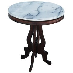 Victorian Eastlake Marble-Top Pedestal Side Table