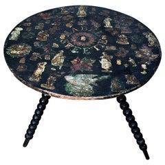 Victorian Ebonized and Decoupaged Gypsy Table on Bobbin Turned Legs, circa 1880