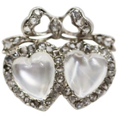 Victorian Edwardian Double Heart Moonstone Sweetheart Ring