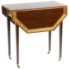Victorian / Edwardian Sheraton Style Mahogany Pembroke Table by Gillows