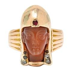 Victorian Egyptian Revival Carnelian Ruby Diamond 14 Karat Gold Pharaoh Ring