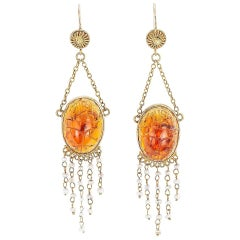 Victorian Egyptian Revival Carved Amber Scarab Pearl Yellow Gold Drop Earrings