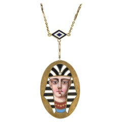 Victorian Egyptian Revival Enameled Pharaoh Pendant Necklace