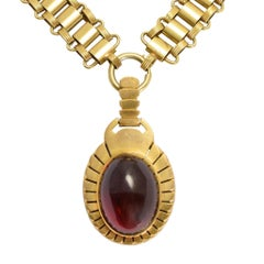 Victorian Egyptian Revival Garnet Scarab Necklace