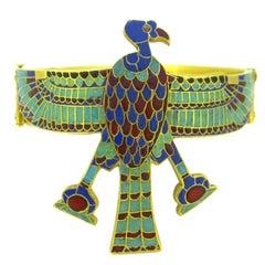Victorian Egyptian Revival Nekhbet Vultur Enamel, circa 1850 Armlet