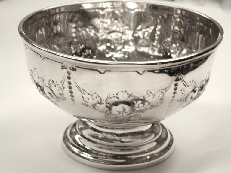 Victorian embossed silver bowl dated 1875, Henry Holland, London Heavy quality embossed silver bowl, ideal as a rosebowl, or sweet bowl. Probably used as a childs bowl originally.