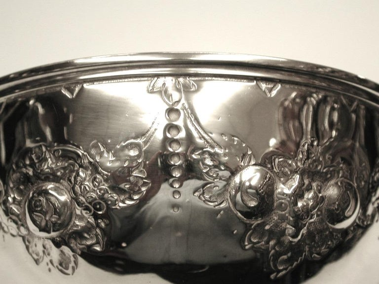 Victorian Embossed Silver Bowl Dated 1875, Henry Holland, London In Good Condition For Sale In London, GB