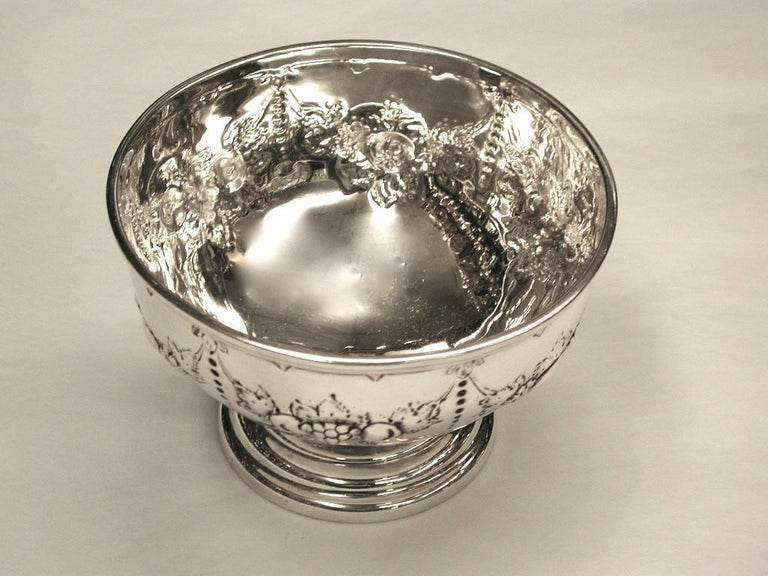 Late 19th Century Victorian Embossed Silver Bowl Dated 1875, Henry Holland, London For Sale