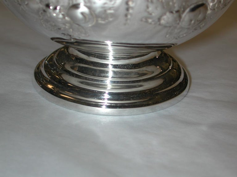 Sterling Silver Victorian Embossed Silver Bowl Dated 1875, Henry Holland, London For Sale