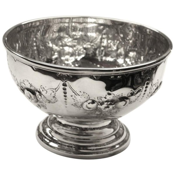 Victorian Embossed Silver Bowl Dated 1875, Henry Holland, London