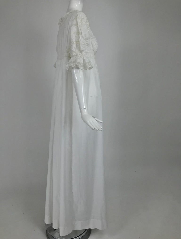Victorian Embroidered Batiste Lace Gown Hattie 1900s For Sale 5