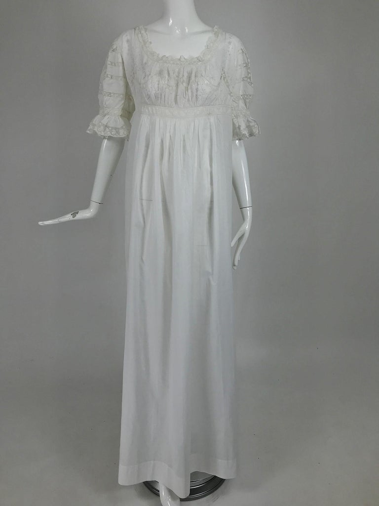 Victorian Embroidered Batiste Lace Gown Hattie 1900s For Sale 6