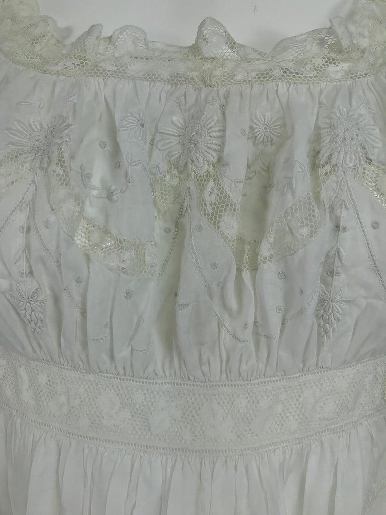 Victorian Embroidered Batiste Lace Gown Hattie 1900s For Sale 7