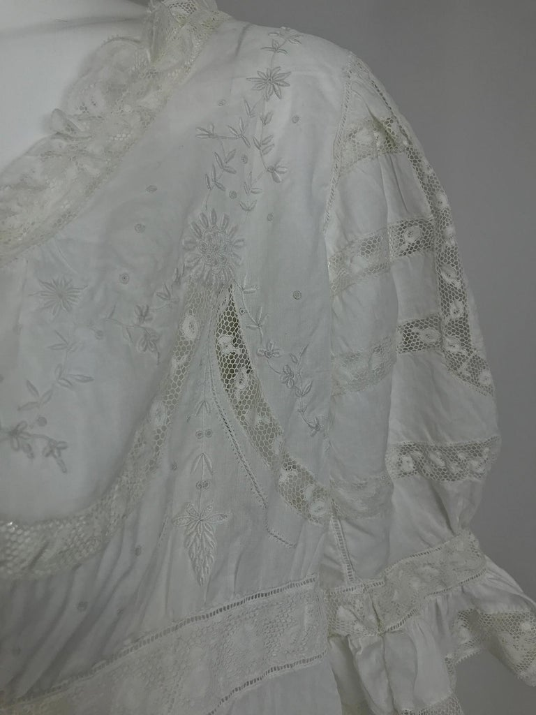 Victorian Embroidered Batiste Lace Gown Hattie 1900s For Sale 8