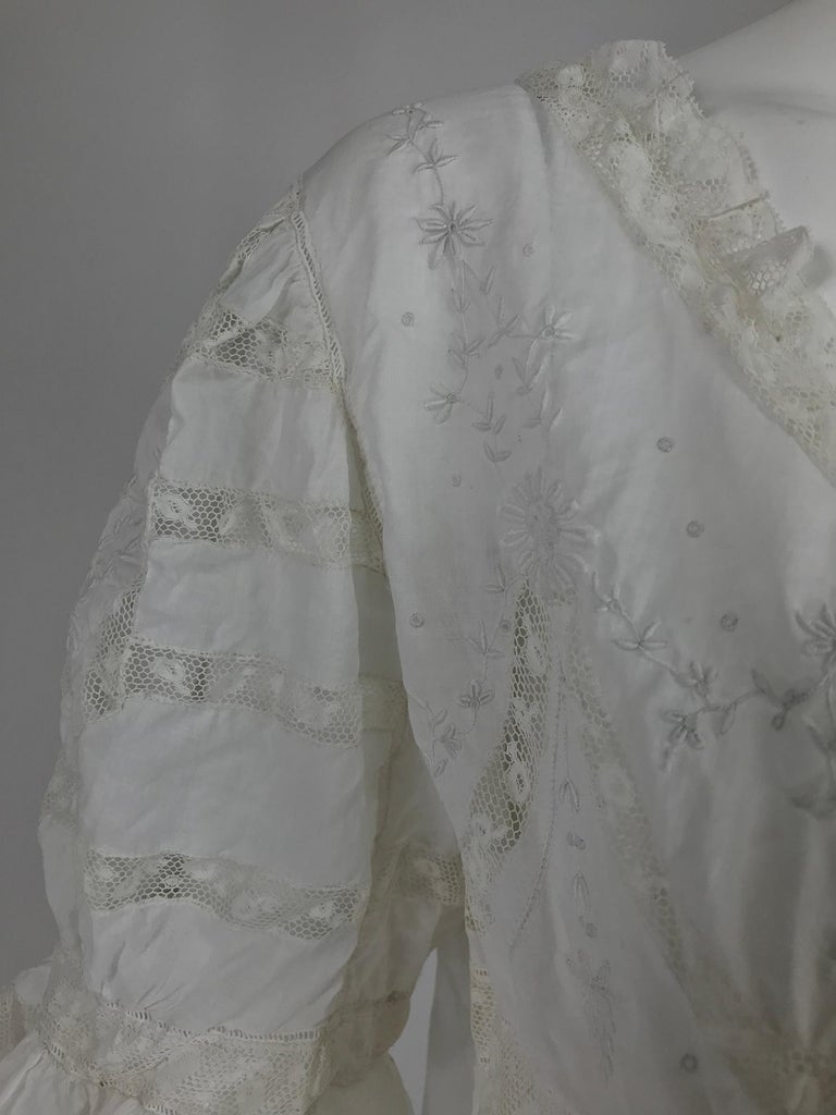 Victorian Embroidered Batiste Lace Gown Hattie 1900s For Sale 9