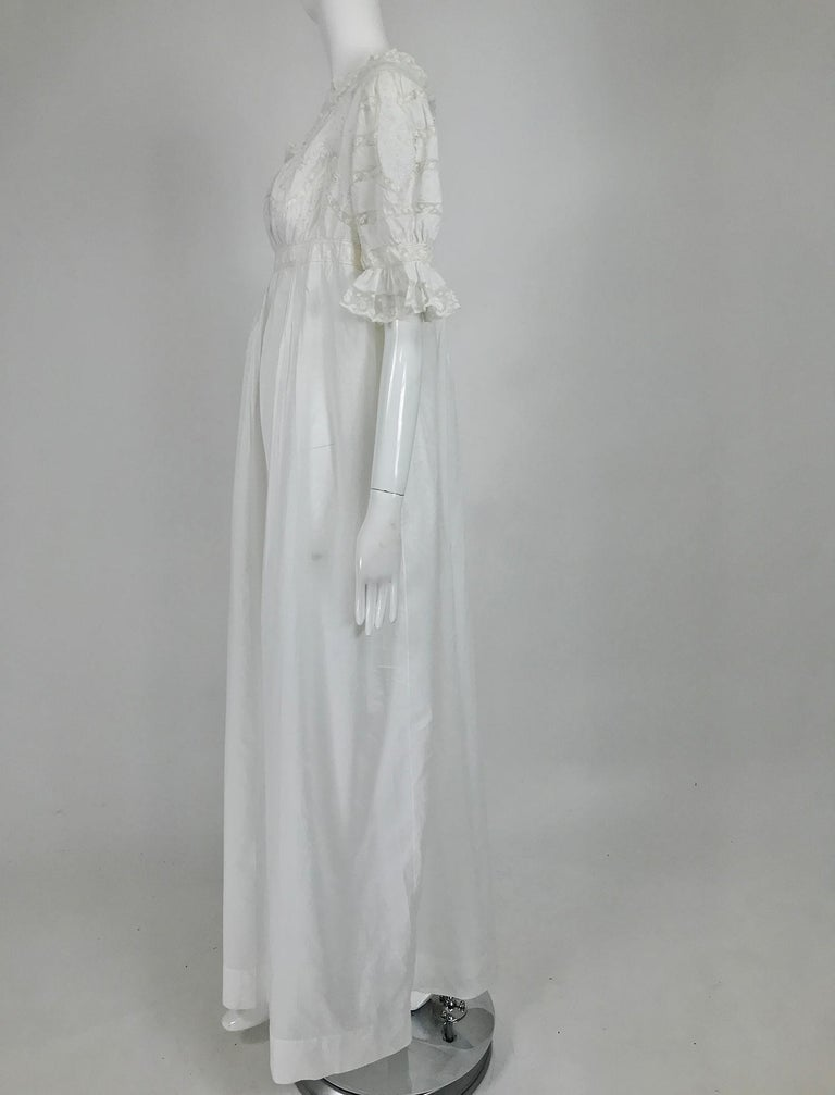 Gray Victorian Embroidered Batiste Lace Gown Hattie 1900s For Sale