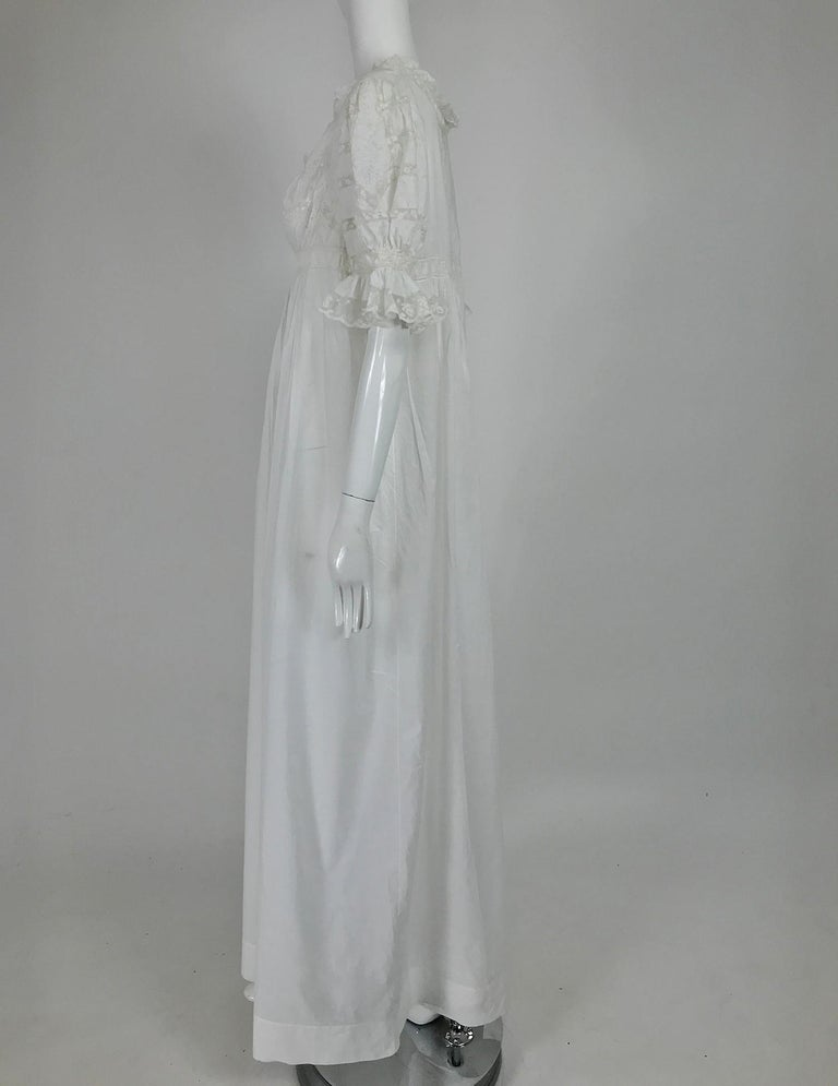 Victorian Embroidered Batiste Lace Gown Hattie 1900s In Excellent Condition For Sale In West Palm Beach, FL
