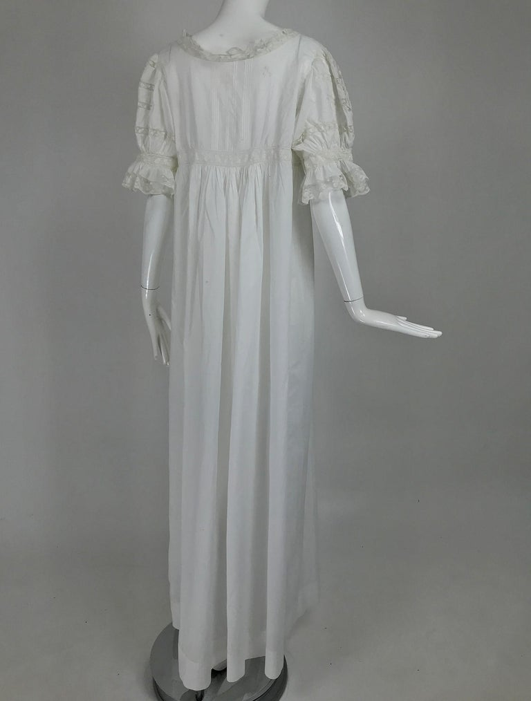 Victorian Embroidered Batiste Lace Gown Hattie 1900s For Sale 3