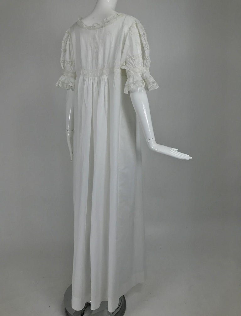 Victorian Embroidered Batiste Lace Gown Hattie 1900s For Sale 4