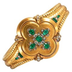 Victorian Emerald and Diamond Bracelet with Locket Back