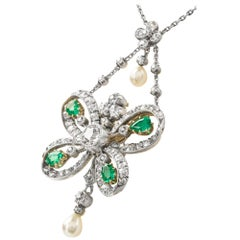 Victorian Emerald and Diamond Butterfly Pendant on a Chain