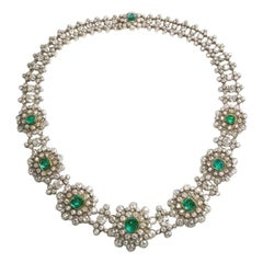 Victorian Emerald and Diamond Cluster Necklace