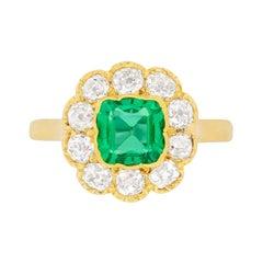 Victorian Emerald and Diamond Cluster Ring, circa 1900s