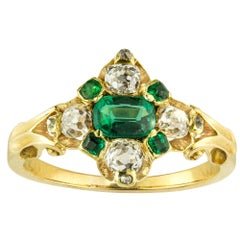 Victorian Emerald and Diamond Cluster Ring