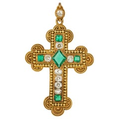 Victorian Emerald and Diamond Cross Pendant