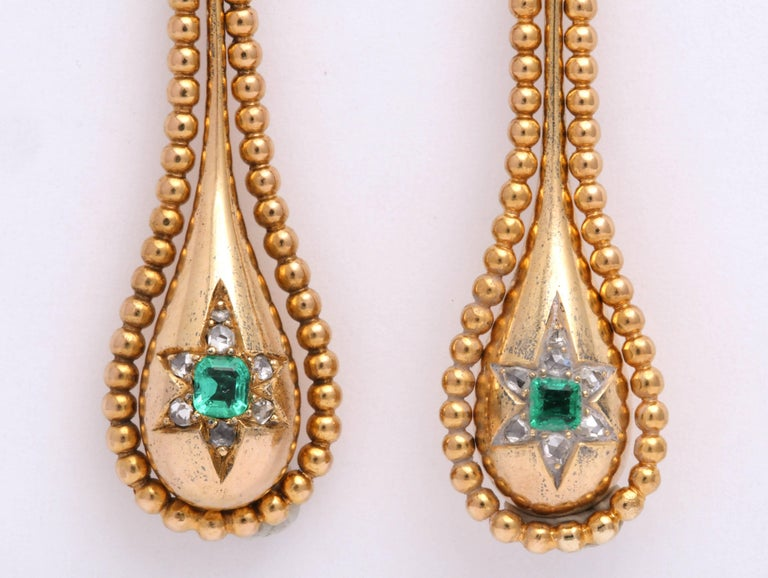Victorian Emerald and Diamond Earrings In Excellent Condition For Sale In Brooklyn, NY