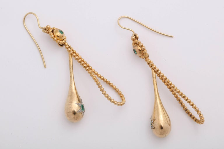Victorian Emerald and Diamond Earrings For Sale 2