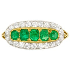 Victorian Emerald and Diamond Five-Stone Cluster Ring, circa 1880s