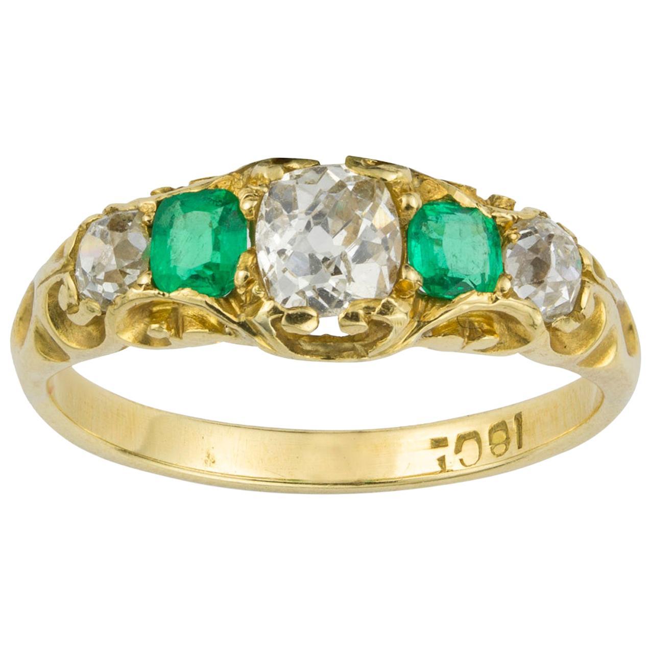 Victorian Emerald and Diamond Five-Stone Gold Ring