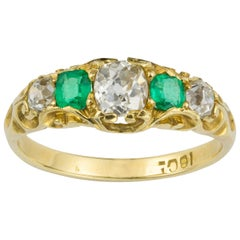 Victorian Emerald and Diamond Five-Stone Gold Ring