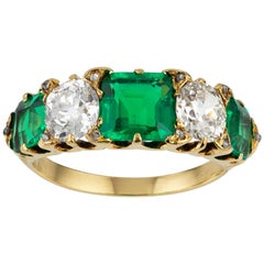 Victorian Emerald and Diamond Five-Stone Ring